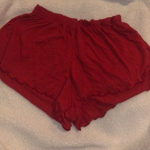 Red Ruffled Shorts